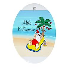 Cute Hawaii santa Ornament (Oval)