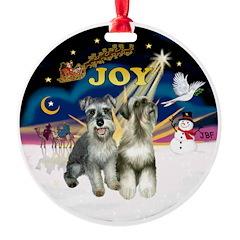 XSunrise+Santa-2 Schnauzers Ornament