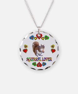 Squirrel Lover Necklace Circle Charm