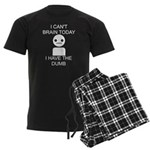 Can't Brain Today Men's Dark Pajamas - I Can't Brain Today, I Have The Dumb - Availble Sizes:Small,Medium,Large,X-Large,2X-Large (+$3.00) - Availble Colors: With Checker Pant,With Blue Strpe Pant,With Grey Camo Pant,With Red Plaid Pant,With Democrat Pant,With Republican Pant