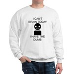 Can't Brain Today Sweatshirt - I Can't Brain Today, I Have The Dumb - Availble Sizes:Small,Medium,Large,X-Large,2X-Large (+$3.00) - Availble Colors: White,Ash Grey