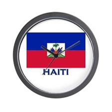 Haiti Flag Gear Wall Clock