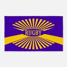 Rugby Spokes Gold Purple 3'x5' Area Rug