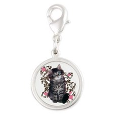 Cute Kitten Kitty Cat Lover Silver Round Charm