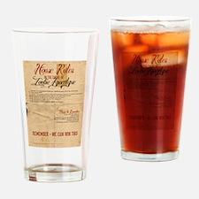 Zombie Apocalypse House Rules Vintage Drinking Gla
