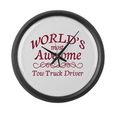 Awesome Tow Truck Driver Large Wall Clock