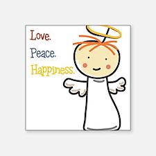 "Love Peace & Happiness Square Sticker 3"" x 3"""