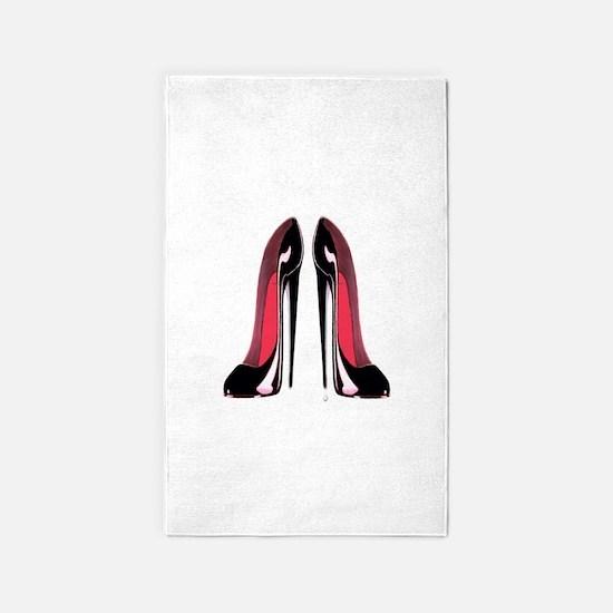 Pair of black stiletto shoes art 3'x5' Area Rug
