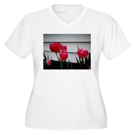 Tulips For Mother's Day Women's Plus Size V-Neck T