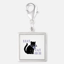 Best Cat Mom Silver Square Charm