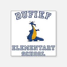 "DuFief Elementary Dragon Square Sticker 3"" x 3"""