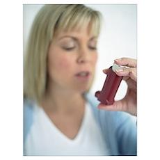 Using asthma inhaler Poster
