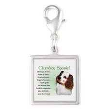 Clumber Spaniel Puppy Silver Square Charm