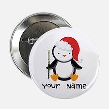 "Personalized Flute Penguin 2.25"" Button"