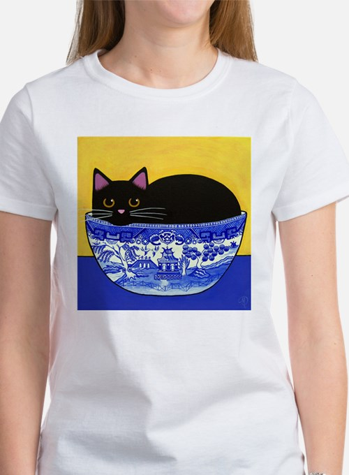BlkCATBlueWillowBowl.jpg T-Shirt