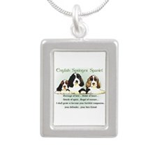 Eng. Springer Spaniel Silver Portrait Necklace