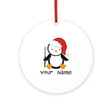 Personalized Flute Penguin Ornament (Round)