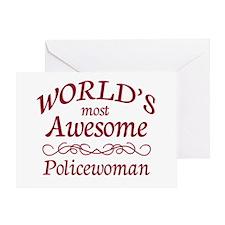 Awesome Policewoman Greeting Card