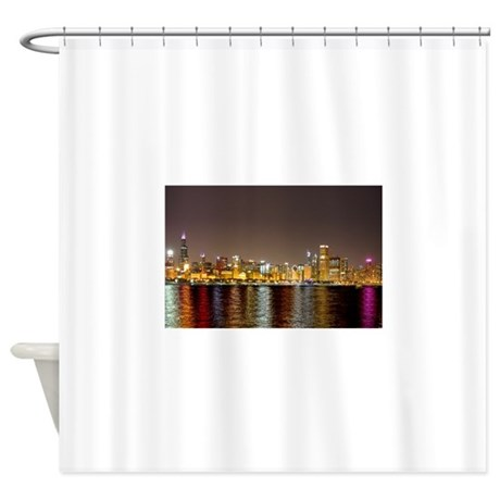 Chicago Night Skyline Shower Curtain