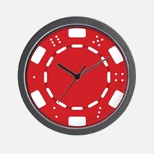 Red Poker Chip Wall Clock