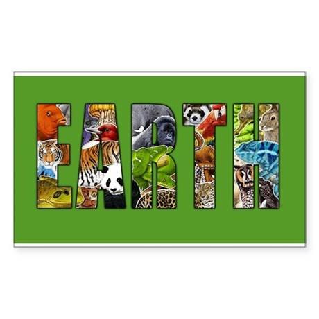 Earth in Wildlife Sticker (Rectangle)