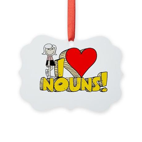 I Heart Nouns Picture Ornament
