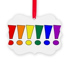 Rainbow Exclamation Points Ornament