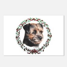 Border Terrier Wreath Xmas Postcards (Package of 8
