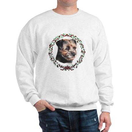 Border Terrier Wreath Xmas Sweatshirt