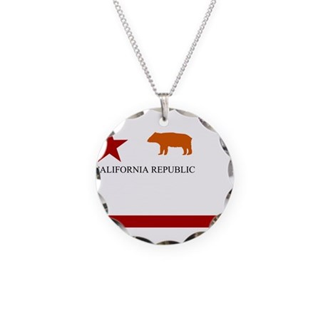 Flag of California Republic Necklace Circle Charm