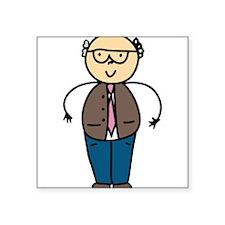 """Balding Grandpa Square Sticker 3"""" x 3"""""""