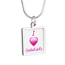 I Love/Heart Cockatiels Silver Square Necklace