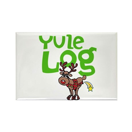 Yule Log Rectangle Magnet