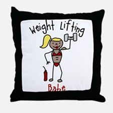 Weight Lifting Babe Throw Pillow