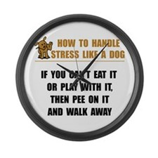 Stress Like Dog Large Wall Clock