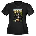 Mona Lisa - Bernese Puppy Women's Plus Size V-Neck