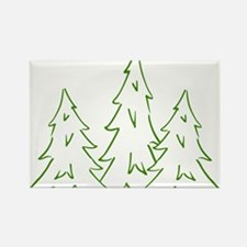 Three Pine Trees Rectangle Magnet
