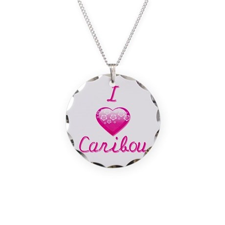 I Love/Heart Caribou Necklace Circle Charm