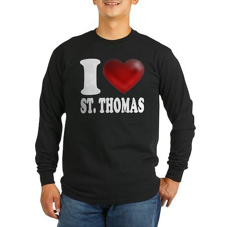 I Heart St. Thomas Long Sleeve Dark T-Shirt