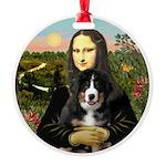 Mona Lisa - Bernese Puppy Round Ornament