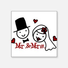 "Mr. And Mrs. Square Sticker 3"" x 3"""