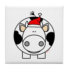 Holiday Cow Tile Coaster