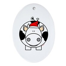 Holiday Cow Oval Ornament