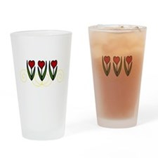 Red Tulips Drinking Glass