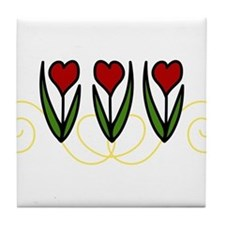 Red Tulips Tile Coaster