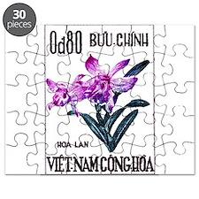 1965 Vietnam Cattleya Orchid Stamp Puzzle