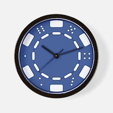 Blue Poker Chip Wall Clock