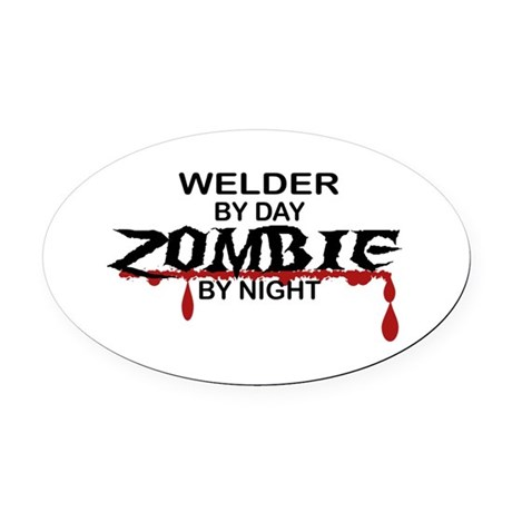 Welder Zombie Oval Car Magnet