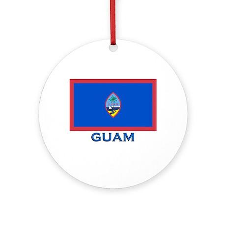 Guam Flag Gear Ornament (Round)