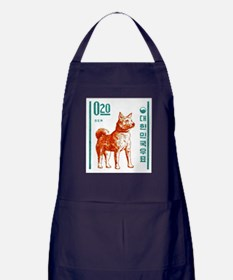 1962 Korea Jindo Dog Postage Stamp Apron (dark)